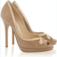 JIMMY CHOO Quick Glitter-Trimmed Suede Pumps - $198.00