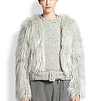 Band of Outsiders - Faux Fur-Trimmed Wool Biker Jacket - Saks Fifth Avenue Mobile