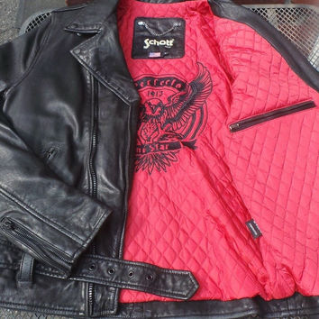 Schott NYC Black Rodeo leather motorcycle retro jacket MC1141   Large Rare