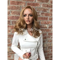 Diane Blond Human Hair Blend Multi Parting Lace Front Wig