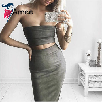2016 Suede Autumn dress Women 2 Piece Set Bodycon Dress off the shoulder Sexy Party Dresses Two Piece Outfits Vestidos