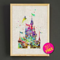 Sleeping Beauty Castles Watercolor Art Print Disney Castles Poster House Wear Wall Decor Gift Linen Print - Disney - Buy 2 Get 1 FREE -93s2g