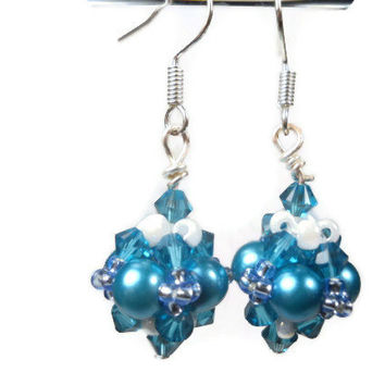 Blue Pearl Beaded Dangle Earrings