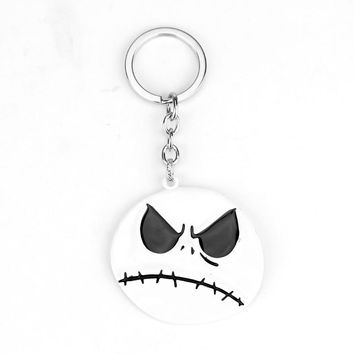 The Nightmare Before Christmas Keychain Duplex Face smile sad Face Key Chain Pumpkin King Santa Jack Skull Head Keyring Men Gift