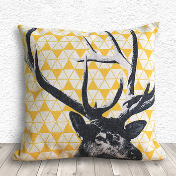 Pillow Cover, Pillow Case, Cushion Cover, Deer Pillow Cover 18x18 - Deer Geometric - 158