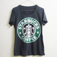 Short sleeve tshirt size S L Dark grey Starbucks tshirt coffee mermaid star crew neck women t shirts