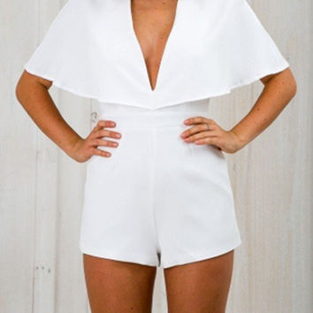 Plunge Back Cutout Playsuit in White