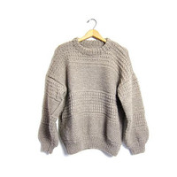 Chunky Knit Fishermens Sweater Oatmeal WOOL Thick Hand Knit Oversized Pullover Natural Handwoven Fisherman Crewneck Sweater Large XL