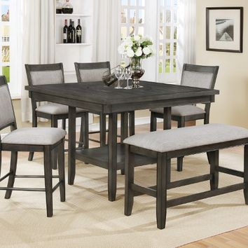 6 pc Fulton collection grey wood finish counter height dining table set with lazy susan