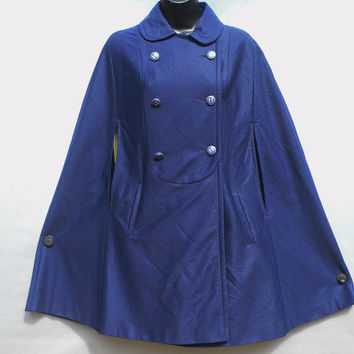 1960's Montgomery Ward Full Cape / Poncho - Peter Pan Collar - Double Breasted - Fully Lined - Dark Navy Blue - Retro Chic!