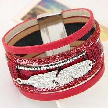 Real Feather Multilayer Leather Charm Bracelets & Bangles