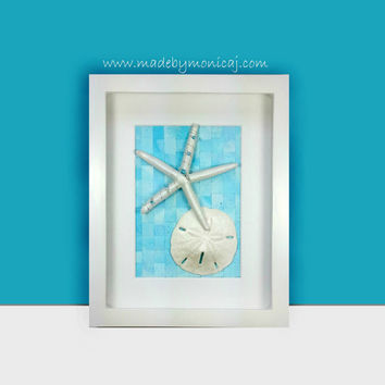 Seashell Wall Decor For Your Coastal Inspired Nursery or Bedroom. Seashell Art in a Shadow Box