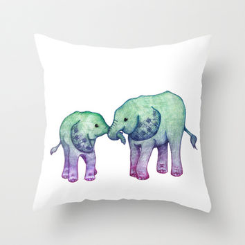 Baby Elephant Love - ombre mint & purple Throw Pillow by Perrin Le Feuvre