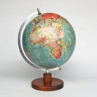 Large Vintage World Globe / Wooden Stand  / 70s Germany