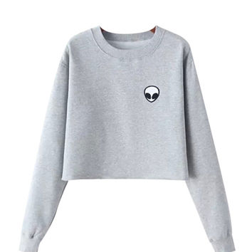 Gray Alien Cropped Sweatshirt