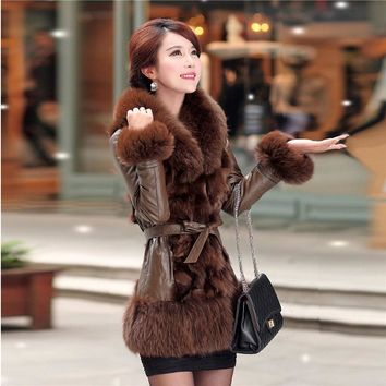 Imitation fur coat female 2018 new winter Slim was thin Hai Ning leather down jacket in the long section of fox fur