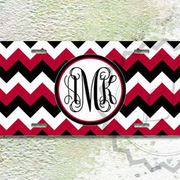 Custom License Plate - Black, White and Raspberry Red chevron, personalized front license plate, vanity car tag