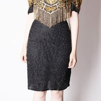 Avant Garde Beaded Sequin Black and Gold Fringe Cocktail Dress / Art Deco Dress / Silk Vintage Dress / Holiday Fashion / New Years / 2360