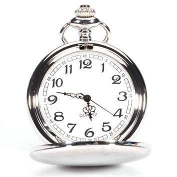 Smooth Stainless Steel Case Dial Arabic Numbers Modern Pocket Watch