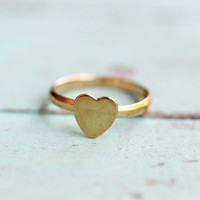 Tiny Gold Heart Ring