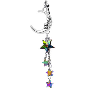 Cosmic Moon Double Mount Belly Ring Created with Swarovski Crystals | Body Candy Body Jewelry