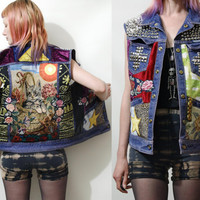 PATCH Studded CAT Jacket DENIM Vest Silver Cross Studs Pyramid Floral Applique Patches Grunge Hippie Punk Leather Tapestry Leopard xs s m l