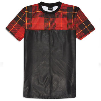 Red Plaid and Black Leather Two-Tone Shirt