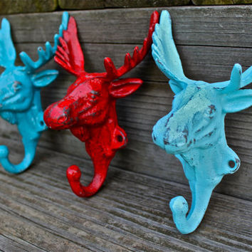 "Set of 3 Bright ""Moose Head"" cast iron Wall Hook:Red, Aqua, Turquoise / Shabby Chic/ Lodge, Cabin Decor/ Key Hanger, Coat Rack, Tow"