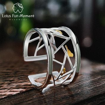 Lotus Fun Moment Real 925 Sterling Silver Fashion Jewelry Minimalism Lovely Birds Ring Geometric Element Rings For Women