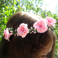 Bridal wreath, bridal floral crown, rustic wedding headpiece, pink sakura