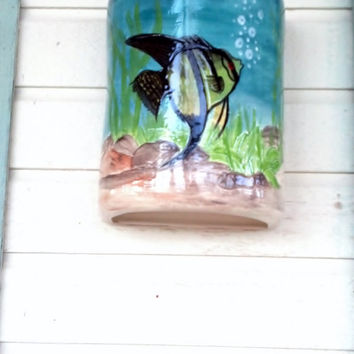Nautical Angel Fish Painted Outdoor Ceramic Wall Light