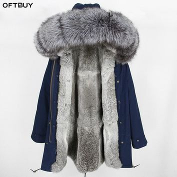 2018 Winter Jacket Women Long Parka Real Fur Coat Natural Silver Fox Fur Collar Hood Real Rabbit Fur Liner Streetwear Outerwear