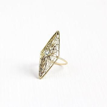 Antique 14k Yellow Gold Aquamarine Navette Filigree Ring - Size 6 1/4 Art Deco 1920s B
