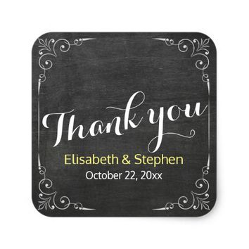 Black & White Chalkboard Floral Wedding Thank You Square Sticker