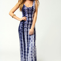 Tina Tie Dye Scoop Neck Maxi Dress