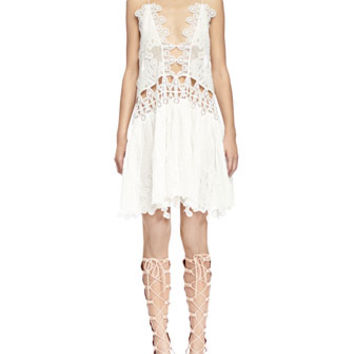 Chloe Peacock-Embroidered Open-Front Shift Dress, Milk