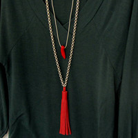 Women Long Necklaces with Tassel, Layered Chain Pendant, Best Statement Necklaces, Trendy Jewelry, Gift for Sister