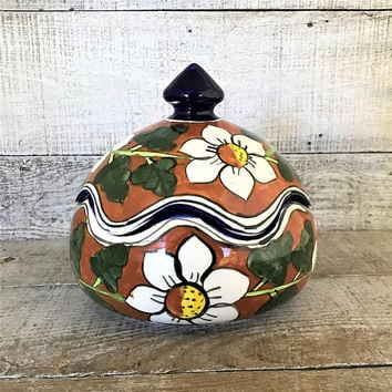 Ginger Jar Ceramic Box Hand Painted Canister Ceramic Urn Ceramic Jar Made in Mexico Trinket Box Boho Decor Ceramic Container Vintage Storage