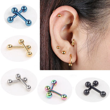 Nail Bone Barbell Earring Piercing Helix Ear Stud Tragus For Men Women Set