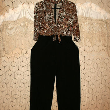 90s Womens Long Jumpsuit Black Brown Animal Print Sexy Knit Medium Catsuit Catwoman Colorblock Color Block V Neck Disco Vintage Clothing
