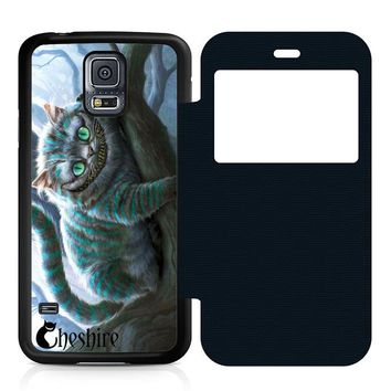 Cheshire Cat Leather Wallet Flip Case Samsung Galaxy S5