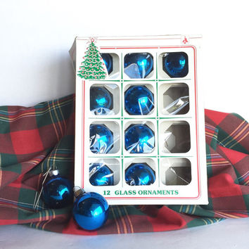 Vintage Blue Glass Christmas Tree Ornaments by Essex Franke Co.