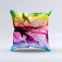 Neon Glowing Fumes Ink-Fuzed Decorative Throw Pillow