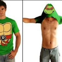 TMNT Teenage Mutant Ninja Turtles Raphael Costume Flip Green Adult T-shirt Tee (Large)
