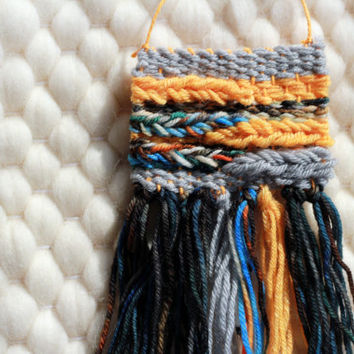 SALE Mini Woven Wall Hanging / Woven Wall Art Tiny / Miniature Weaving / Gold, Silver, Blue, Black, Koi Fish