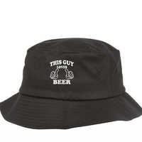 this guy loves beer white Bucket Hat