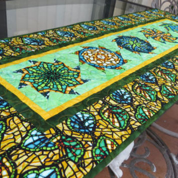 Table Runner Quilted Art Glass Olive Yellow 625