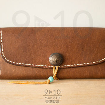 Long Leather Wallet, Med. Brown Dyed Leather Mens Leather Wallet, Long Wallet, Handmade Wallet, Hand stitched, Mens Wallet
