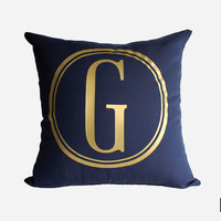 Gold Monogram Throw Pillow Cover - Gold, Silver, and More - Circle Monogram Pillow Sham - Navy