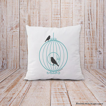Birdcage pillow-birdcage cushion cover-french pillow-shabby chic pillow-housewarming gift-decorative pillow-home decor-NATURA PICTA-NPCP058